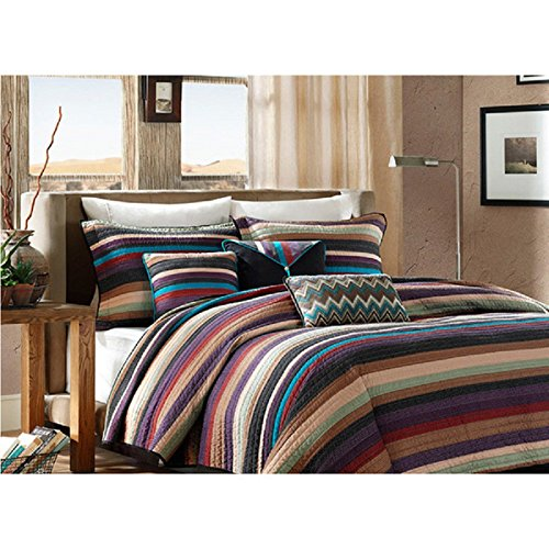 6 Piece Multi Striped Theme Coverlet Queen Set, Beautiful Indian Tribe & Native Tribal Designs, Colorful Stripes Indie Pattern, Southwestern-Inspired Style, Reversible Bedding, Vibrant Blue Red Brown by SE