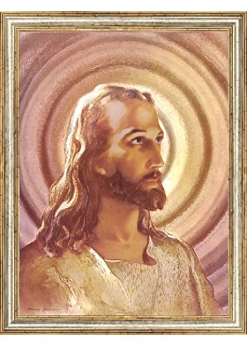 The Head of Christ By Sallman Religious Christian Wall Decor Art Metallic Ink Print Mini Poster (6x8 Inch Framed)