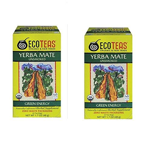 ECOTEAS Organic Yerba Mate Unsmoked Tea 24 Bags (Pack of 2)