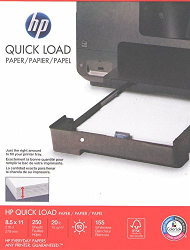 General Ink Hp (HP Quick Load Ultra White Paper, Multipurpose Copy Laser Inkjet Printer, 8 1/2 x 11 inch Letter Size, 20 lb. Density, 92 Bright White, Acid-Free, Convenient Half-Ream Size, 250 Total Sheets (1667571))