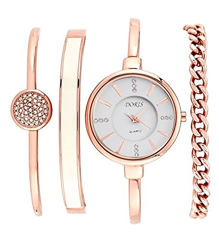 Luxury Watch Gift Set with Bracelet- Silver and White