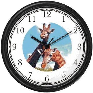 Giraffe Photo African Animal Wall Clock by WatchBuddy Timepieces Black Frame