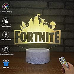 BOPU 3D Visual Lamp Optical Illusion LED Night Light, Amazing 7 Colors FORTNITE Shape Touch Sensitive Switch Lamps with Acrylic Flat, USB Charge for Home Decor (A)