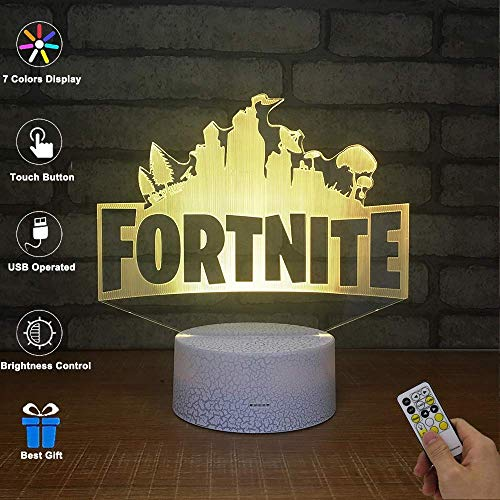 BOPU 3D Visual Lamp Optical Illusion LED Night Light, Amazing 7 Colors FORTNITE Shape Touch Sensitive Switch Lamps with Acrylic...