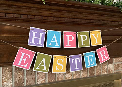 Happy Easter Banner Spring Colorful Farmhouse Farm house Garland Bunting Sign Perfect Photo Prop