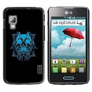 Be Good Phone Accessory // Dura Cáscara cubierta Protectora Caso Carcasa Funda de Protección para LG Optimus L5 II Dual E455 E460 // Blue Skull & Blades