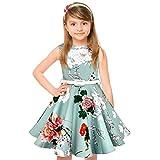 HBBMagic Girls Sleeveless Round Neck Floral Audrey 1950s Fashion Vintage Swing Party Dress (Girls 7-8, Little Blue)