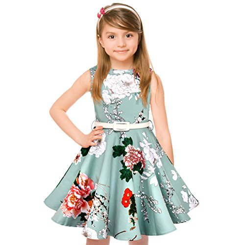 Girls 50s Vintage Swing Rockabilly Retro Sleeveless Party Dress for Occasion Mint Green