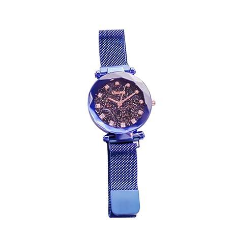 Slri SIridescentZB Reloj Mujer Malla de Esfera Redonda Estrellada con magnético Azul