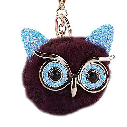- Fluffy Rabbit Fur Pom-pom Key Chain Bag Charm Puff Ball Owl Pendant Car Key Ring (Colour - Purple)