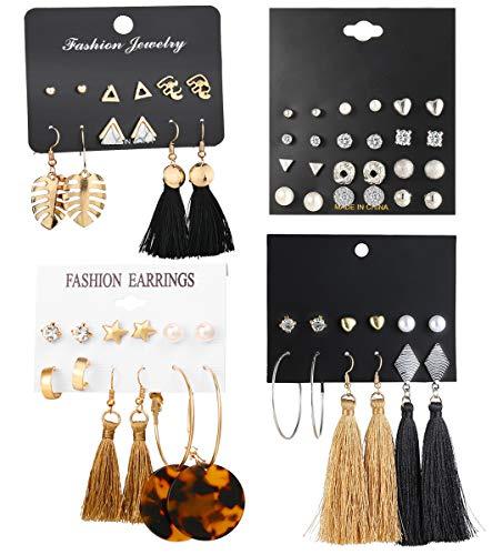 WAINIS 23-44 Pairs Assorted Multiple Stud Hoop Dangle Earrings Set Women Girls Acrylic Round Ball CZ Bohemian Long Tassel Drop Earrings - Jewelry Dangle Stud Earrings