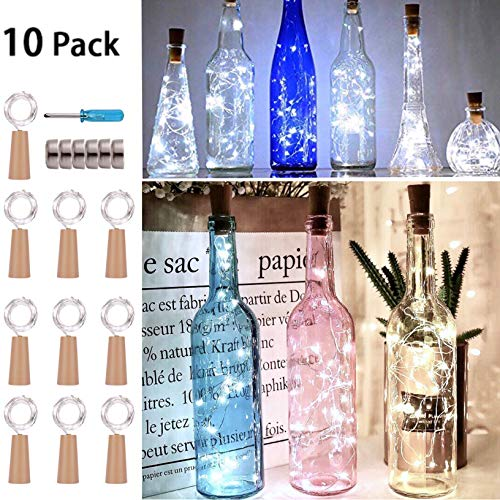 Wine Bottle String Lights with Cork,10 Pack 30 Pre-Installed+6 Replacement Batteries Included,12 LED Cool White Mini Silver Copper Wire Fairy Lights Fit DIY Party Wedding Table Centerpieces Decor]()