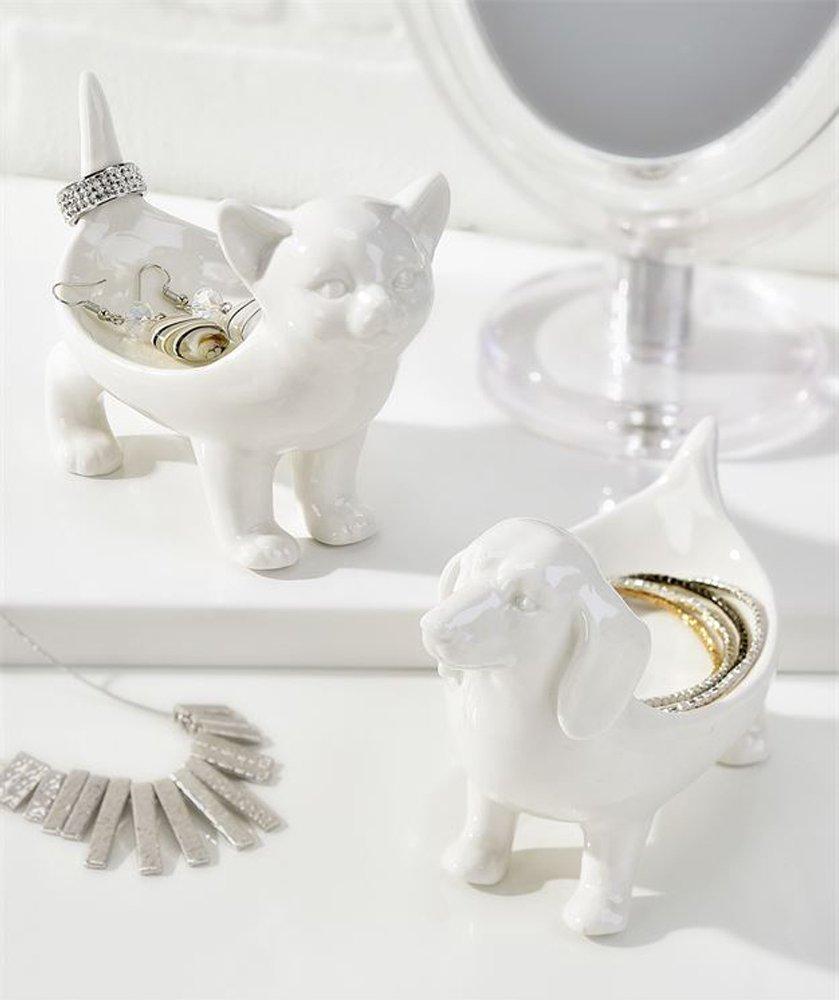 Porcelain Animal Design Jewelry Holder (Cat)