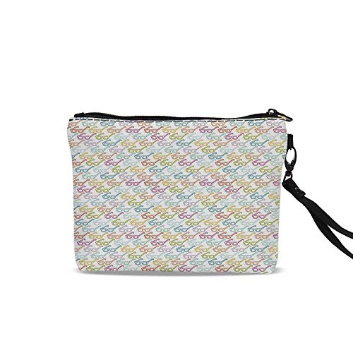 - Indie Portable Travel Makeup Cosmetic Bags,Colorful Pattern with Classical Old Fashioned Eyeglasses Nerd Smart Hipster Doodle For Women Girl,9