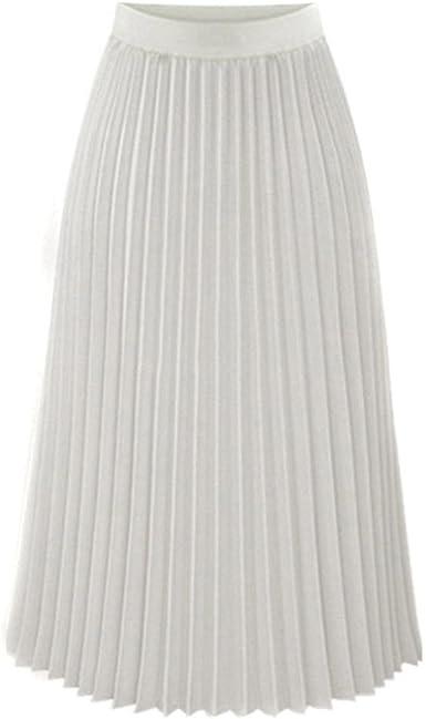 Sixcup Jupe Femme Plissée Jupe Longue Femme Robes Longue Taille Elastique Maxi Jupe en Plissé Toute la Saison