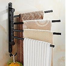 ELLO&ALLO Oil Rubbed Bronze Towel Racks for Bathroom Wall Mounted Swivel Towel Bar Holder with Hooks 4-Arm