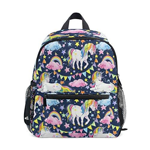 (U LIFE Vintage Rainbow Unicorn Birthday Kids Backpack Bookbag Shoulder Schoolbag for Girls Boys)