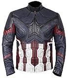 jacket captain america - Captain America Infinity War Jacket - Captain America Black Distress Leather Jacket (Captain America Distressed Leather Jacket, 2XL)