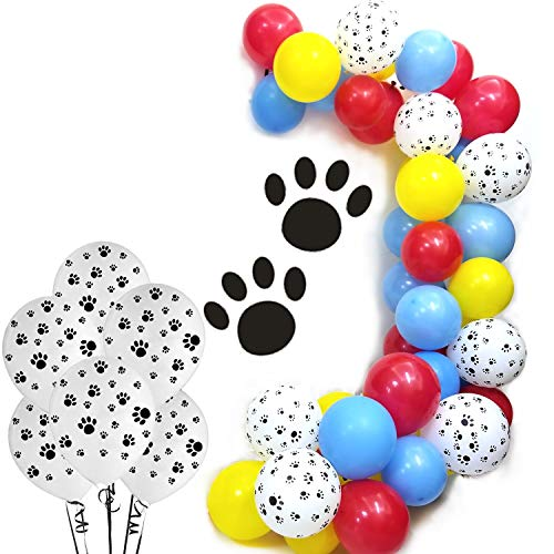 Paw Party Balloons 100 Count - Red Yellow Blue Latex Balloons With Paw balloons For Dog Paw Patrol Theme Party Girls Birthday Party Baby Shower Decorative