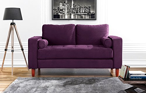 Couch for Living Room, Tufted Velvet Fabric Sofa with Back Cushions, Tufted Bottom and 2 extra cushions (Purple)