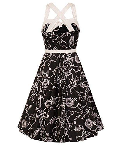 Stil Elfenbein 50s Jahre Hell Nautisch Bunny Schwarz Kleid Mistral Matrose xqwSpYT