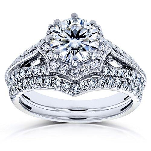 Forever One DEF Moissanite & Diamond Star Halo Bridal Set 1 1/2 CTW 14k White Gold (2 Piece Set)