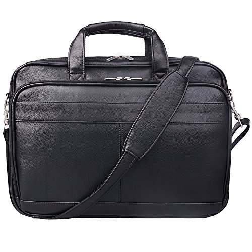 Jack&Chris Men's PU Leather Briefcase Messenger Bag Laptop Bag, MBYX014 ()