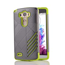 MOONCASE LG G3 Case Hybrid Armor Tough Rugged [Anti Scratch] Dual Layer TPU +PC Frame Protective Case Cover for LG G3 Grey Green