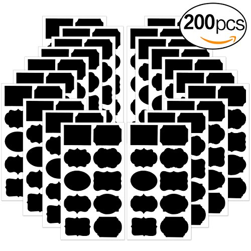 Chalkboard Labels Stickers 200 PCS, Chalk Labels For Mason (Removable Rectangle Labels)