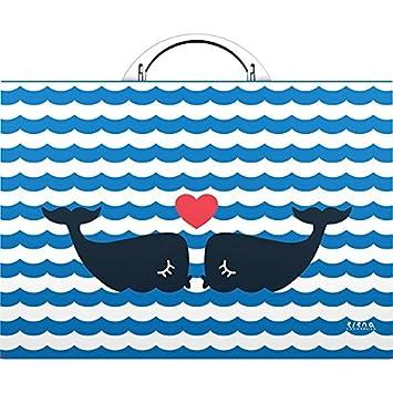 Grafoplas Elena Corredoira - Maletín, diseño de ballenas: Amazon.es: Oficina y papelería