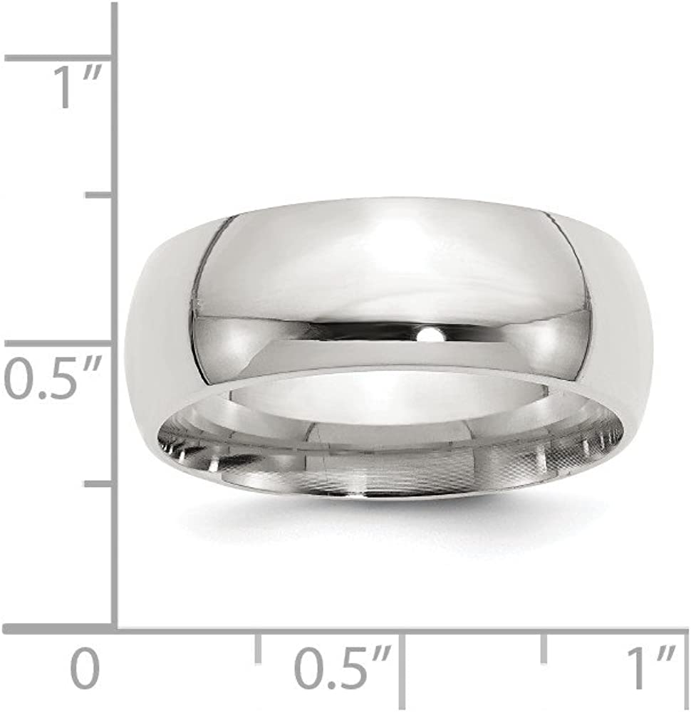 Wedding Bands Classic Bands Domed Bands Sterling Silver 8mm Comfort Fit Band Size 7.5