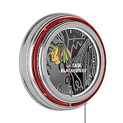 Trademark Gameroom NHL Chrome Double Rung Neon Clock - Watermark - Chicago Blackhawks