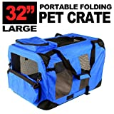 New Large Dog Pet Puppy Portable Foldable Soft Crate Playpen Kennel House - Blue Red Green (Blue)