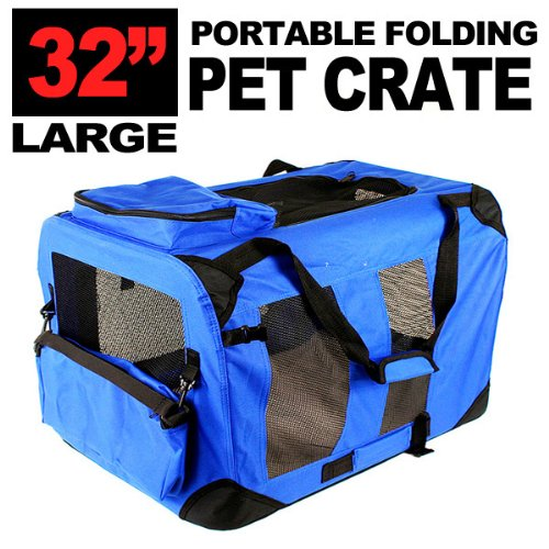 New Large Dog Pet Puppy Portable Foldable Soft Crate Playpen Kennel House – Blue Red Green (Blue) Review