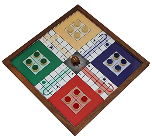 Ludo Board Game Wooden 4 Player Family Travel Board Magnetic Large 16 Coins 1 Dice (Snake Man At Arms)