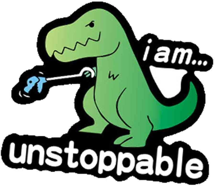 I am Unstoppable T-Rex Dinosaur Funny Decal Vinyl Sticker for Cars Trucks Vans Walls Laptop Toolbox(Green)
