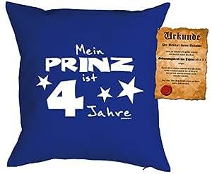 Cumpleaños Decoración Cojín–Mein Prinz es un cómodo 4años con certificado