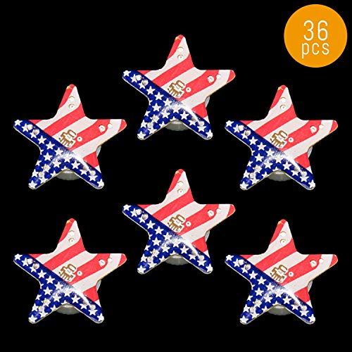 Lumistick Light Up 1 inch Blinky American Flag Star Magnetic Lapel Pin - Flashing Patriotic LED Badge - Memorial Day Fourth of July Flashing Brooch (36 Stars)