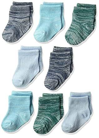 Hanes Ultimates Baby Boys Flexy Ankle Length Socks 8-Pack, Blues, 0-6M