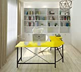 Modern Computer Desk L Shaped Corner Desk Home Office Desks,More Stable Structure,Design by Ulikit (Yellow)