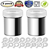 2 Stainless Steel Powder Shakers, Stainless Steel Chocolate Shaker Mesh Shaker Powder Cans for Coffee Cocoa Cinnamon Powder with Lid, with 16 pcs Printing Molds Stencils