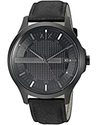 Armani Exchange Mens Dress Black Leather Watch AX2400