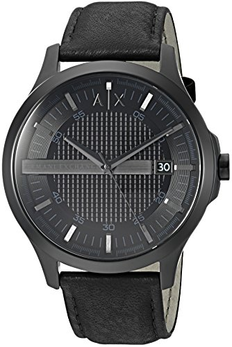 Armani Exchange Men's Dress Black Leather Watch AX2400 (Leather Armani Watch Men)