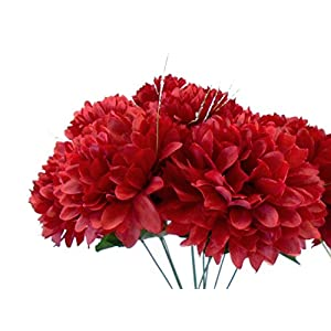 "Phoenix Chrysanthemum Mum Ball Bush Artificial Silk Flowers 10-2302BU2 19"" Bouquet Dark RED 30"