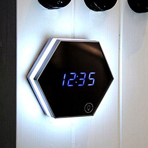 CYCLETRACK 目覚し時計 置き時計 壁掛け時計 デジタルクロック ミラー付 LEDライト付 日付/時間/室温測定 クロック/化粧鏡/夜間ライト/USB充電式 大音量 アラームクロック (シルバー) B01LYYWYXAシルバー