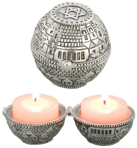 Judaica Portable Travel Candle Holders Candlesticks Shabbat Holiday Magen David