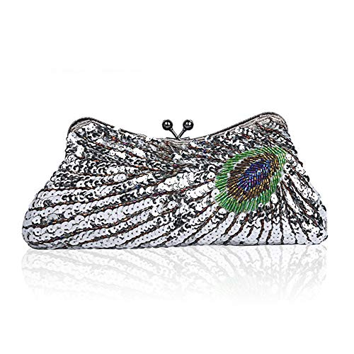 amp; Bag Beads Women Peacock Bag Exquisite Evening Beaded Glitter Handmade Wedding Ball Fadirew Bags Vintage Ladies Silver Sequin Party Bridal Handbag Cluth for pw4z7TRq