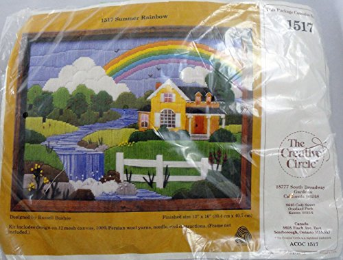 stitch Needlepoint Kit Summer Rainbow Country Cottage With River and Waterfall 1517 By Russell Bushee 1983 (Cottage Needlepoint)