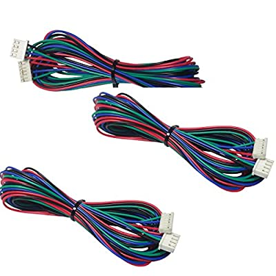 [initeq] 3-Pack 2M (2 Meters) Stepper Motor Cable for 3D Printer and NEMA 17 Stepper Motors – JST Connector