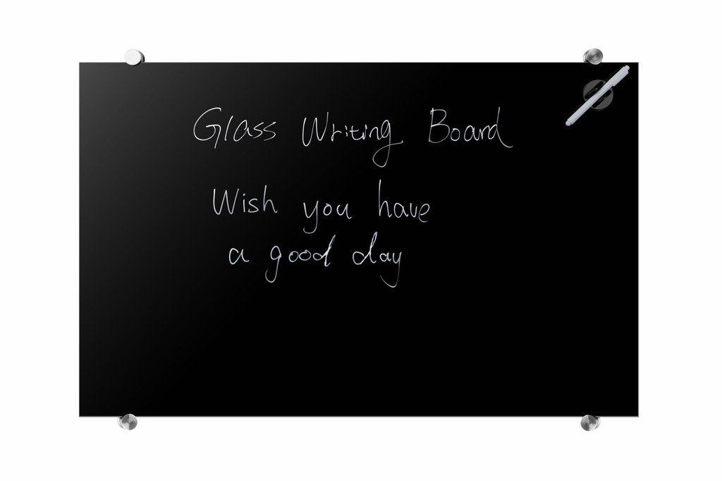 Magnetic Glass Dry-Erase Blackboard, Frameless - 23 5/8'' X 35 1/2''(60 X 90cm)